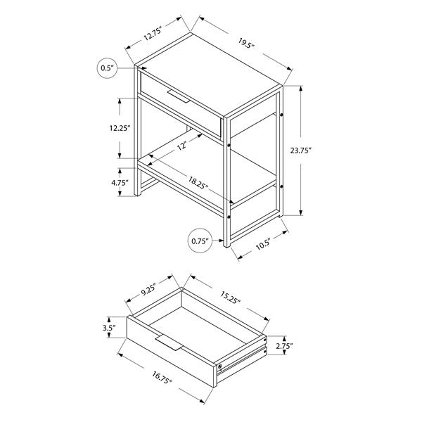 """Table d'appoint, 12,75"""" x 23,75"""", composite, gris"""