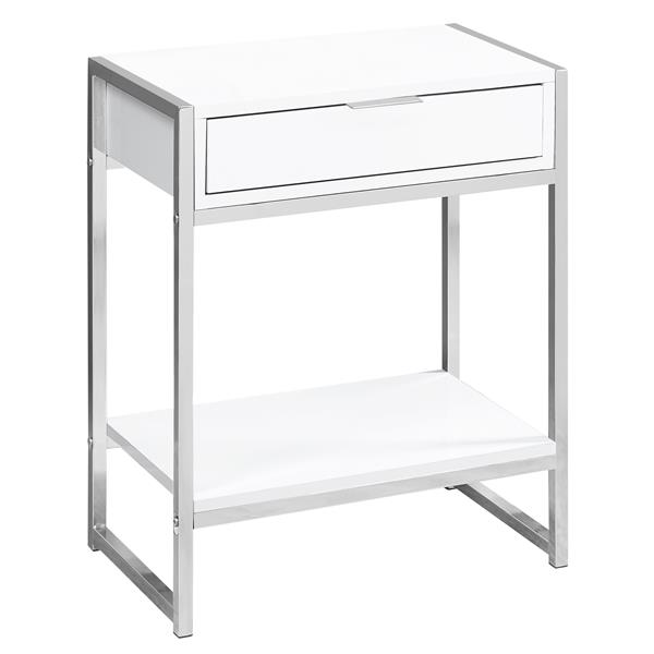 "Table d'appoint, 12,75"" x 23,75"", composite, blanc"