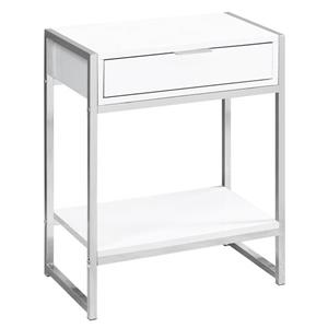 Monarch Accent Table - 12.75-in x 23.75-in - Composite - White