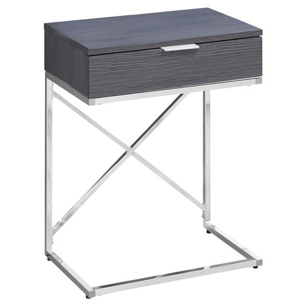 "Table d'appoint, 12,75"" x 23,5"", gris"