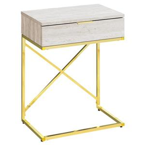 "Table d'appoint, 12,75"" x 23,5"", composite, beige"