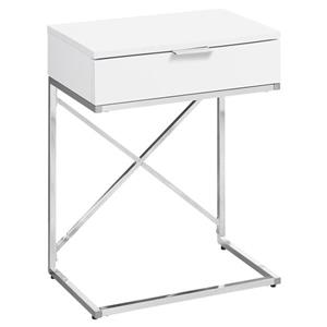 Monarch Accent Table - 12.75-in x 23.5-in - Composite - White