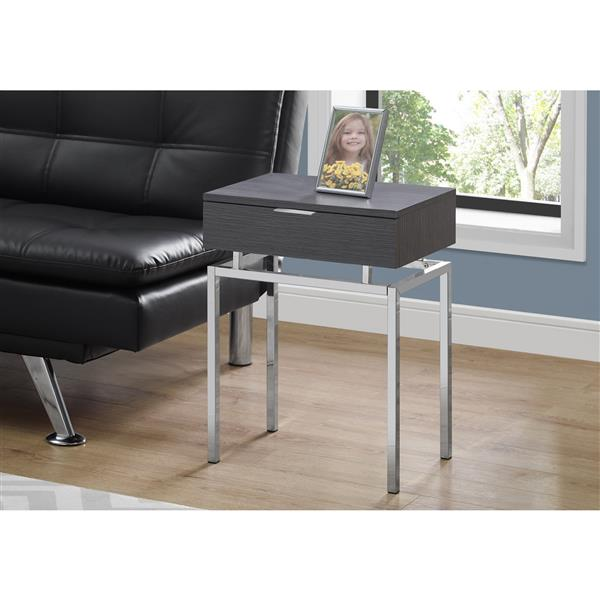"Table d'appoint, 23,25"", composite, gris"