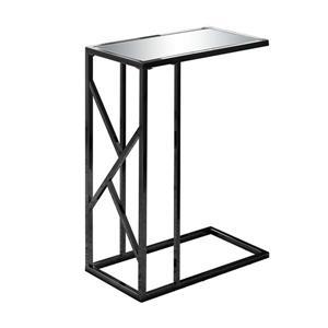 """Table d'appoint, 18,25"""" x 23,75"""", verre, noir"""