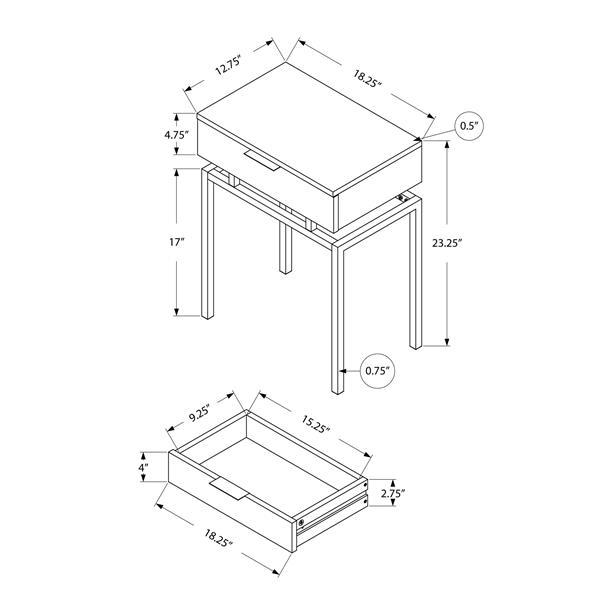 "Table d'appoint, 12,75"" x 23,25"", composite, blanc"