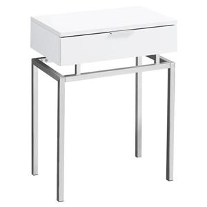 Monarch Accent Table - 12.75-in x 23.25-in - Composite - White
