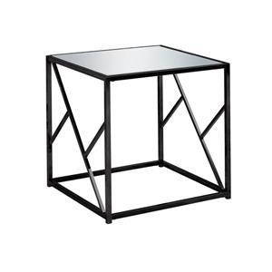 """Table d'appoint, 22"""" x 21,75"""", verre, noir"""