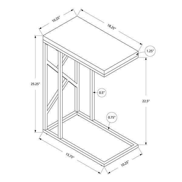 """Table d'appoint, 10,25"""" x 25,25"""", composite, gris"""