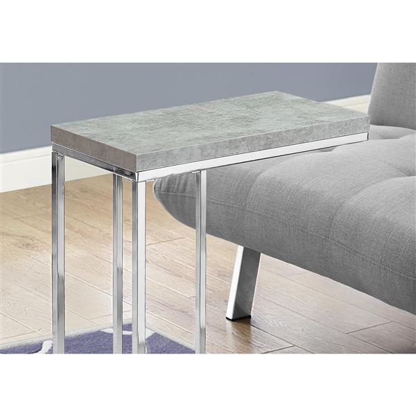 """Table d'appoint, 18,25"""" x 25,25"""", composite, gris"""