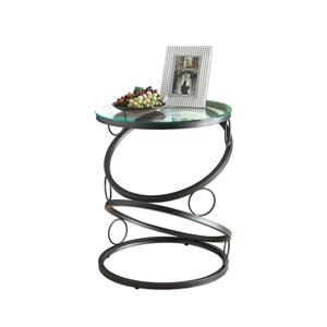 Monarch Accent Table - 20-in x 24.25-in - Glass - Black