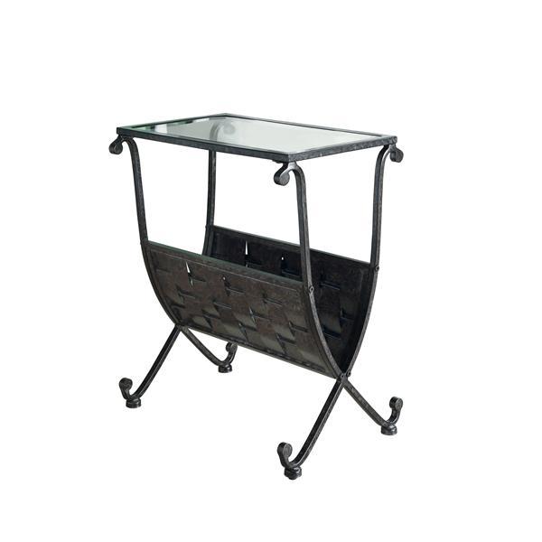 Table d'appoint et porte-revues, 11,5 po x 22 po, verre, noir