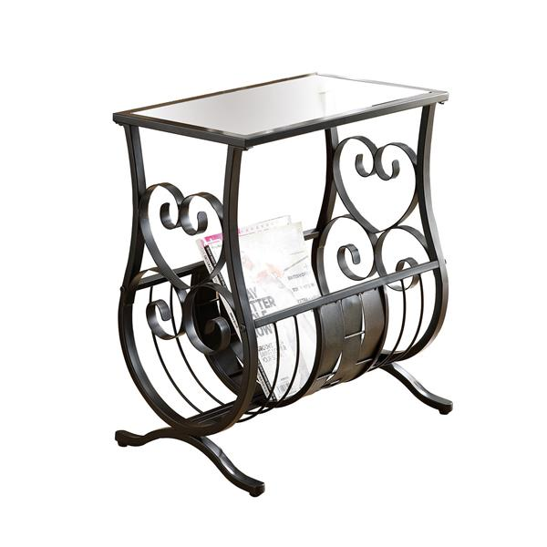 Monarch Accent Table - 11.5-in x 21.75-in - Glass - Black