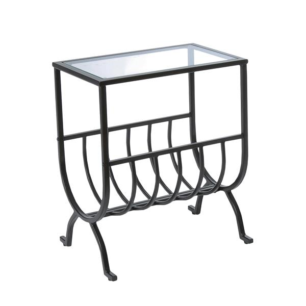 Monarch Accent Table - 11.5-in x 22-in - Glass - Brown