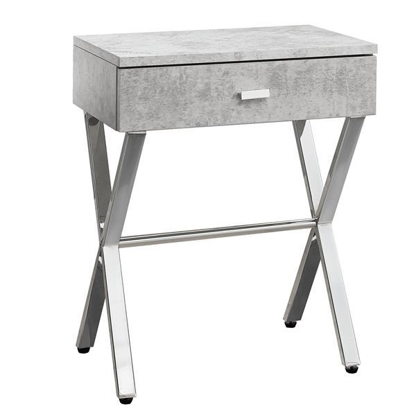 """Table d'appoint, 12"""" x 22,25"""", composite, gris"""