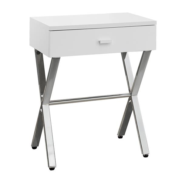 Monarch Accent Table - 12-in x 22.25-in - Composite - White