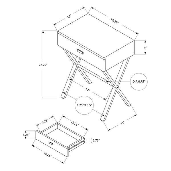 """Table d'appoint, 12"""" x 22,25"""", composite, taupe foncé"""