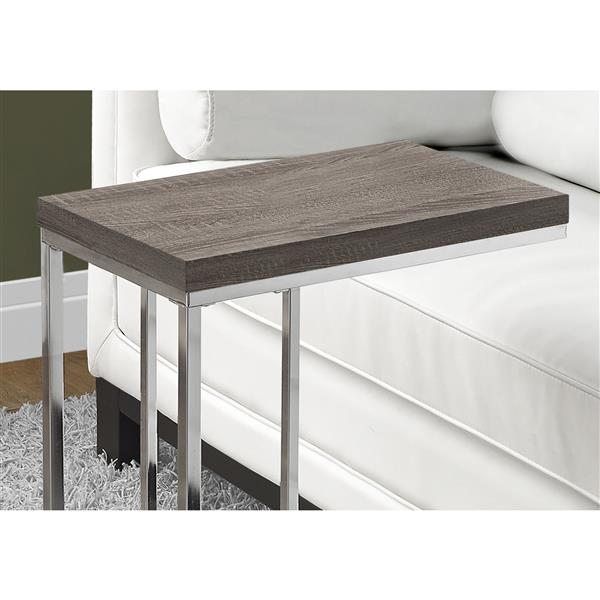 Monarch Accent Table - 18.25-in x 25.25-in - Composite - Dark taupe
