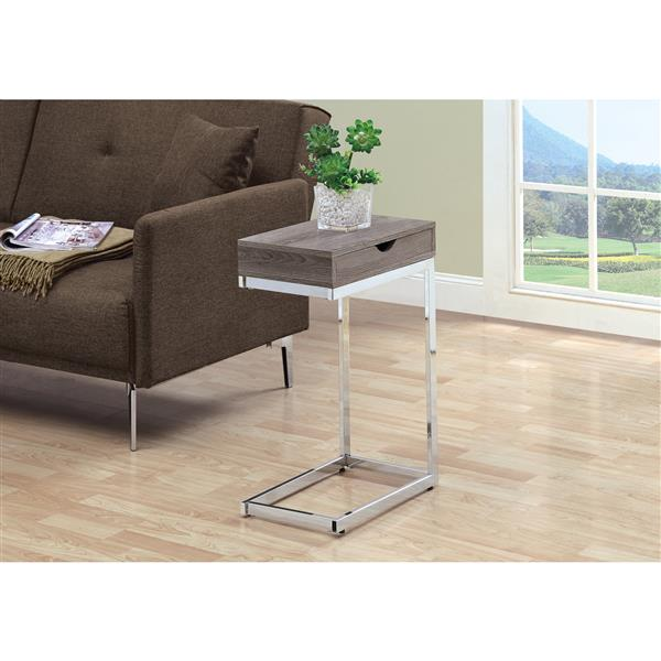 Monarch Accent Table - 10.25-in x 24.5-in - Composite - Dark taupe