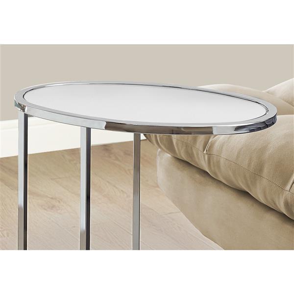 "Table d'appoint, 18,5"" x 24"", verre, chrome"