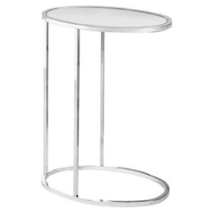 "Table d'appoint, 18,5"" x 24"", verre, chrome"