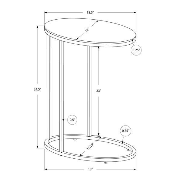 "Table d'appoint, 18,5"" x 24,5"", verre, chrome"