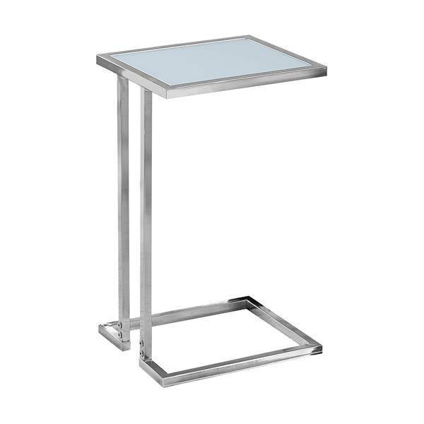 Monarch Accent Table - 12-in x 23.5-in - Glass - Chrome