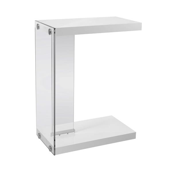 "Table d'appoint, 18,5"" x 24,75"", composite, blanc"