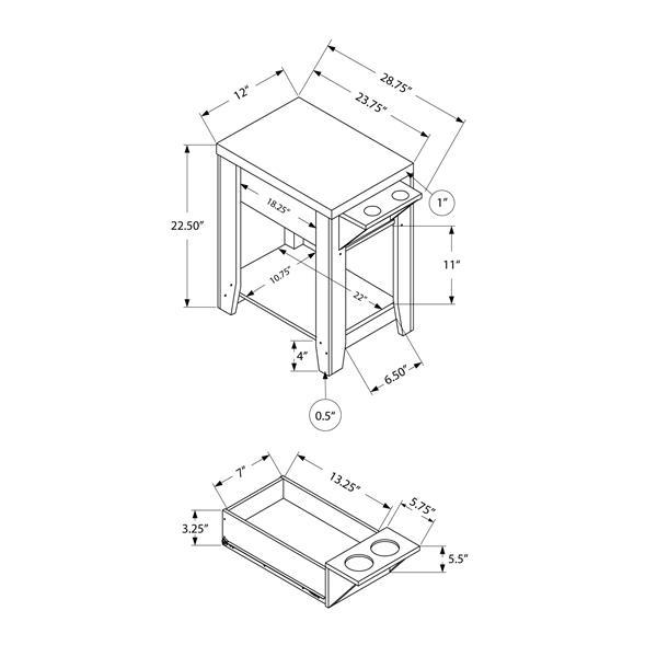 """Table d'appoint, 24"""" x 24"""", composite, taupe foncé"""