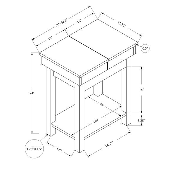 Monarch Accent Table - 20-in x 24-in - Composite - White