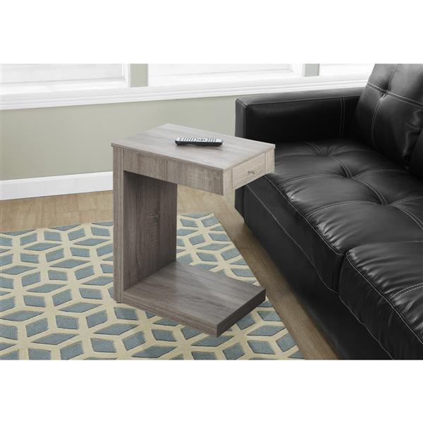 Monarch Accent Table - 18.25-in x 24-in - Composite - Dark taupe