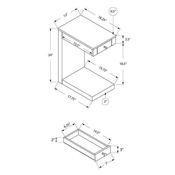 """Table d'appoint, 18,25"""" x 24"""", composite, taupe foncé"""