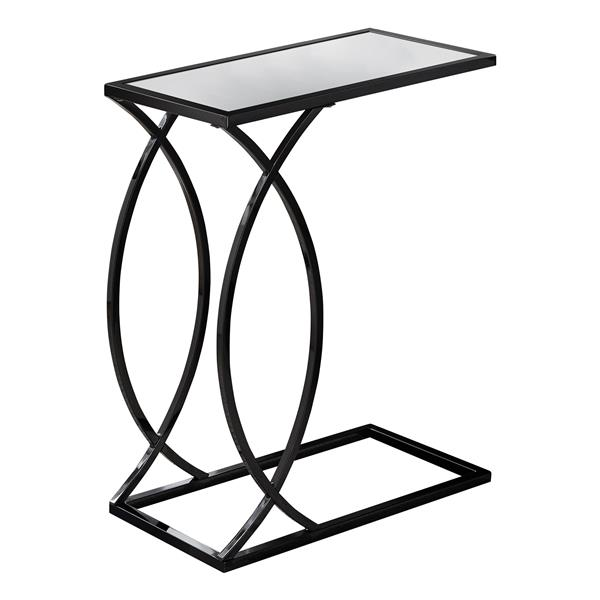 Monarch Accent Table - 24-in - Glass and Black Metal