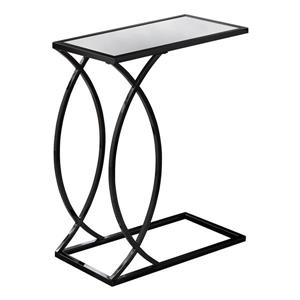 Monarch Accent Table - 24-in - Glass - Black