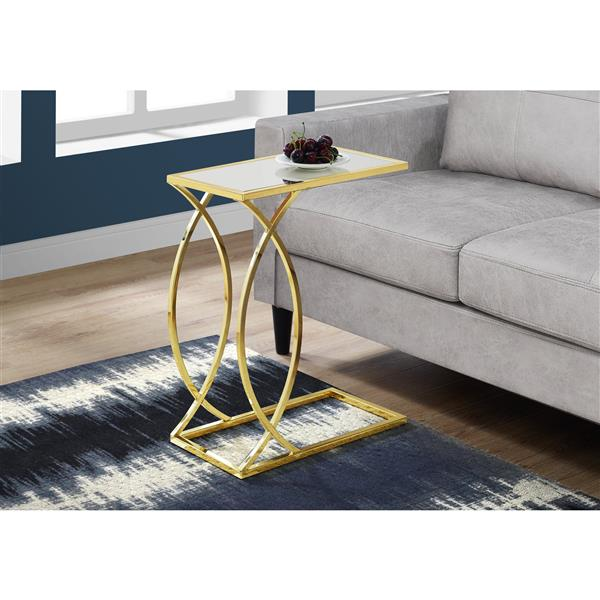 """Table d'appoint, 18,25"""" x 24"""", verre, or"""