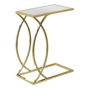 "Table d'appoint, 18,25"" x 24"", verre, or"