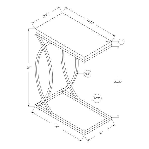 "Table d'appoint, 18,25"" x 25"", composite, blanc"