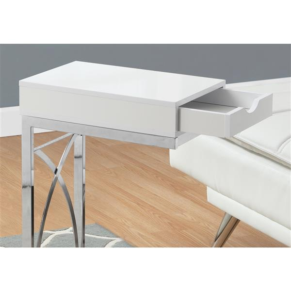 Monarch Accent Table - 15.75-in x 24.5-in - Composite - White