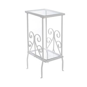 "Table d'appoint, 12"" x 30"", verre, blanc"