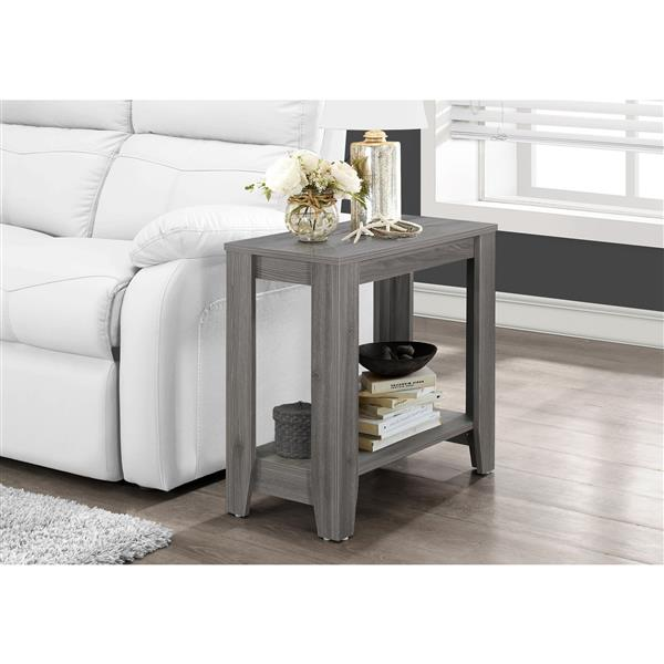 Monarch Accent Table - 11.75-in x 22-in - Composite - Gray