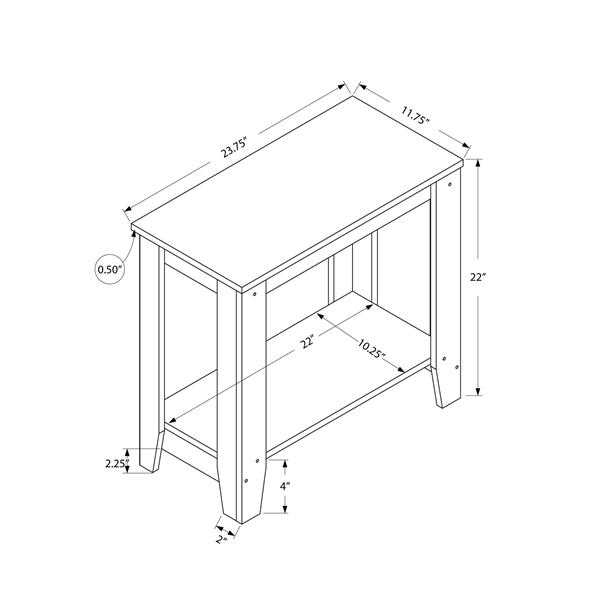 "Table d'appoint, 11,75"" x 22"", composite, noyer"