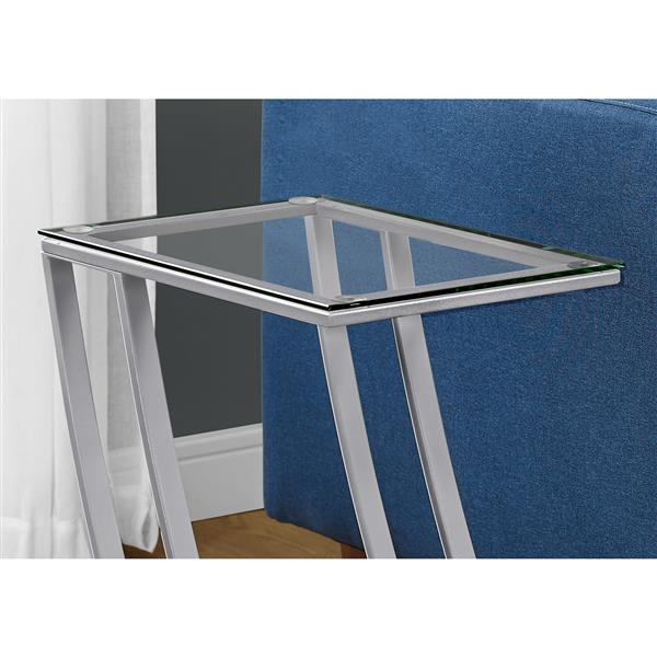 Monarch Accent Table - 15.75-in x 24-in - Glass - Silver