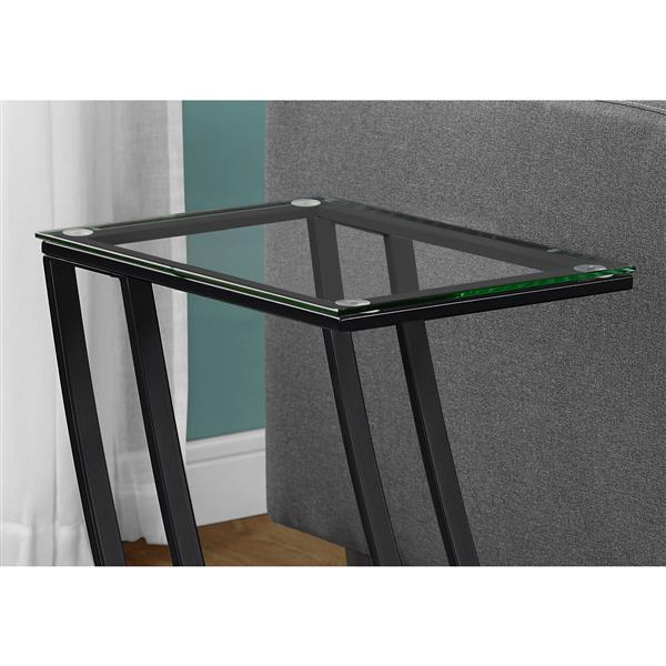 """Table d'appoint, 15,75"""" x 24"""", verre, noir"""