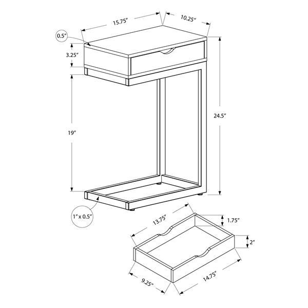 "Table d'appoint, 10,25"" x 24,5"", composite, noyer"