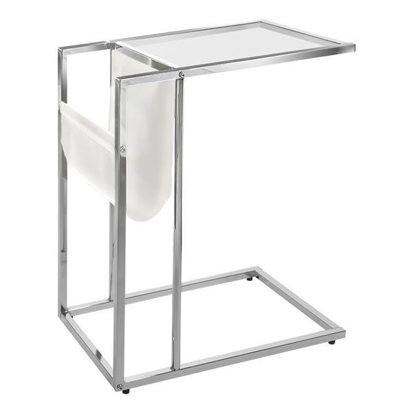 "Table d'appoint, 19,5"" x 24"", verre, chrome/blanc"