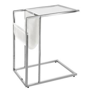 Monarch Accent Table - 19.5-in x 24-in - Glass - Chrome/White