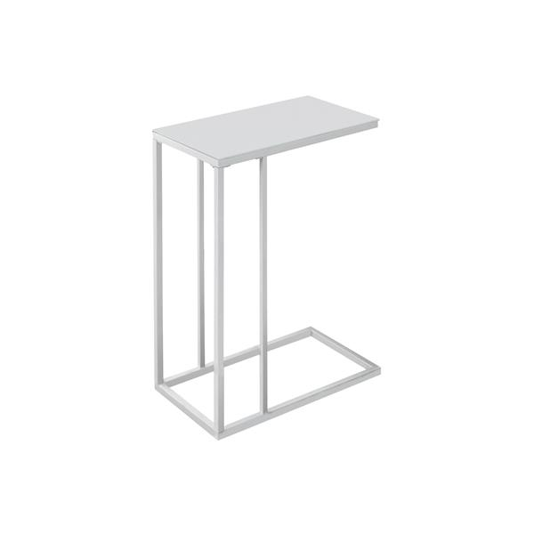 Monarch Accent Table - 18.25-in x 24-in - Glass - White
