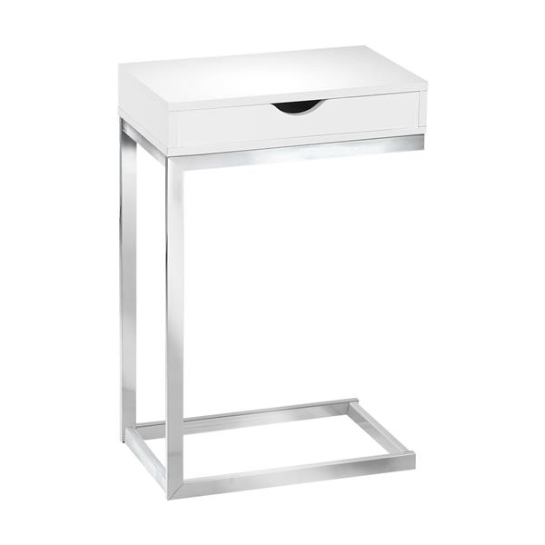 "Table d'appoint, 10,25"" x 24,5"", composite, blanc"