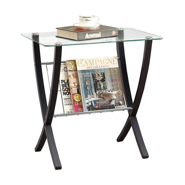 "Table d'appoint, 16,25"" x 24,5"", verre, cappuccino"