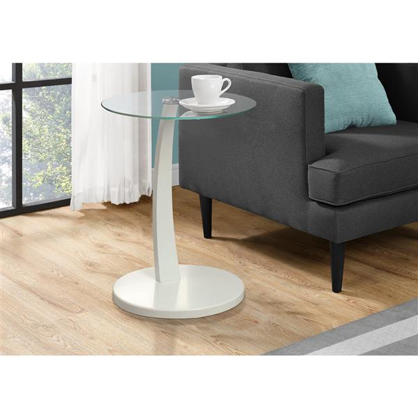 Monarch Accent Table - 17.75-in x 24-in - Glass - White