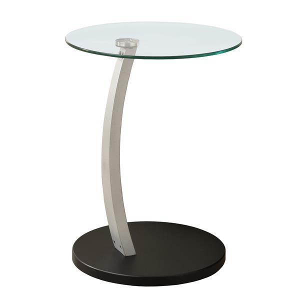 """Table d'appoint, 17,75"""" x 24"""", verre, noir"""